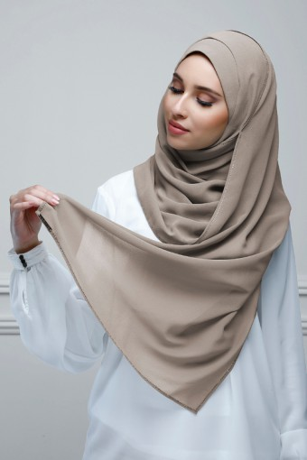 Taupe Gray - Plain With Charms Georgette