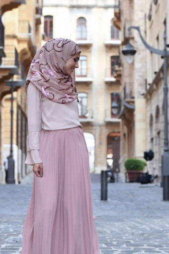Mare Pink - Printed Crinkled Chiffon