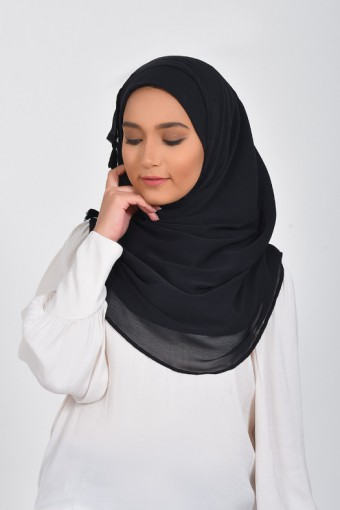 Black Beauty - Plain Smooth Chiffon
