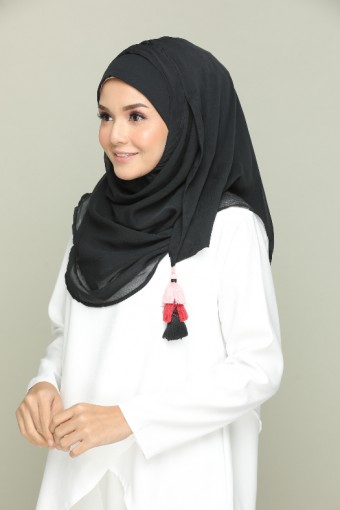 Black for Belle - Plain Smooth Chiffon
