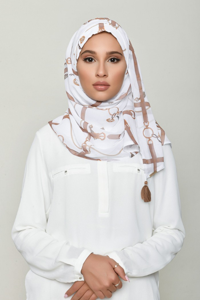 Buckle White - Printed Georgette