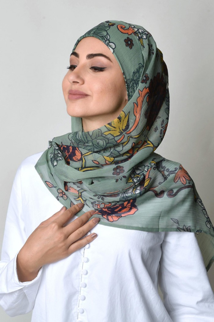 Baroquesque Green - Printed Crinkled Chiffon