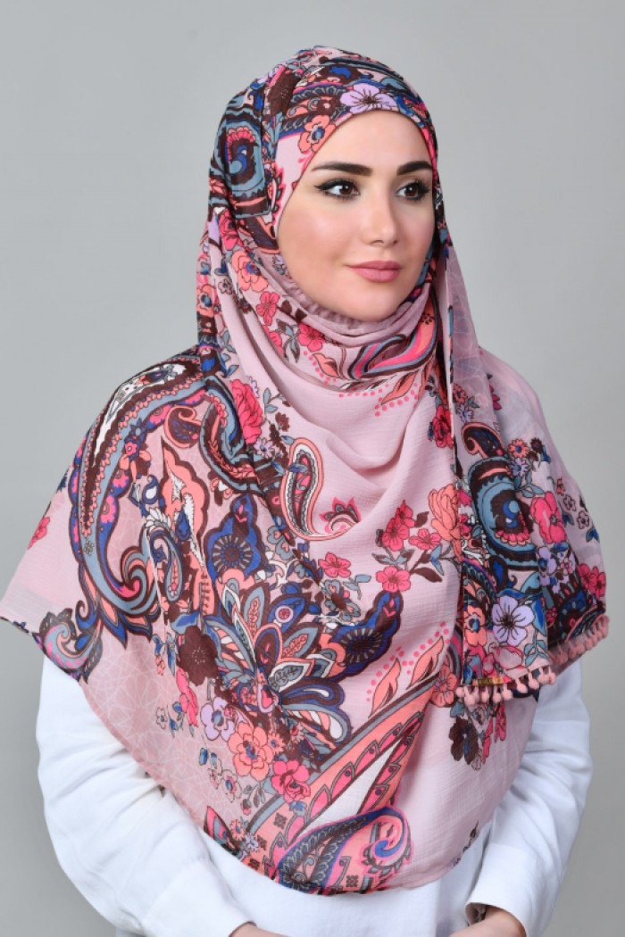 Boteh Pink- Printed With Pompoms Mosaic Chiffon