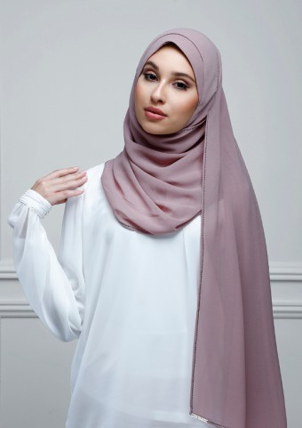 Dusty Mauve - Plain With Charms Georgette