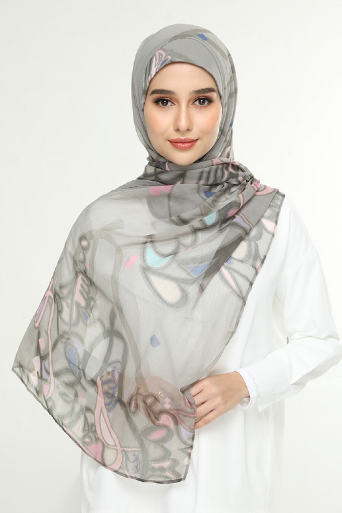 Fariha Army -Printed Smooth Chiffon