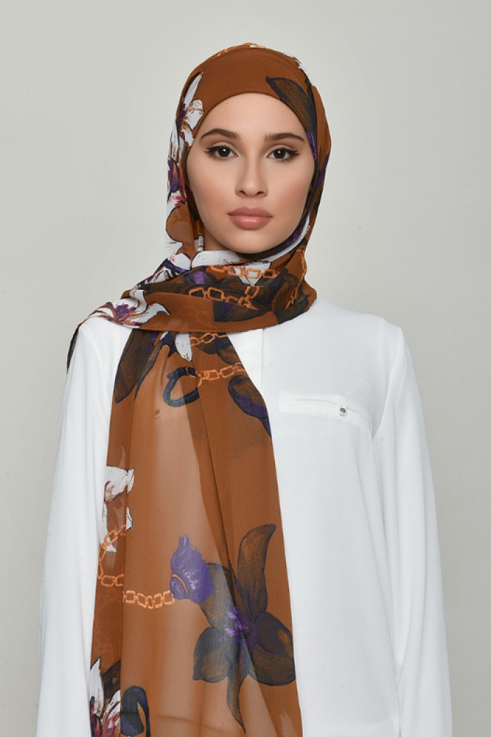 Lilies Caramel - Printed Crinkled Chiffon