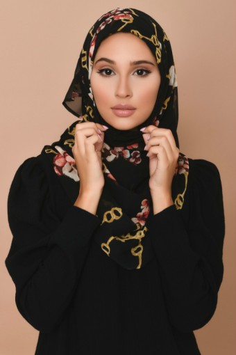 Chains Black - Printed Georgette