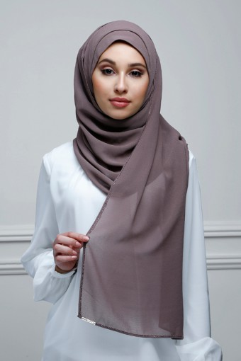 Plum Truffle - Plain With Charms Georgette