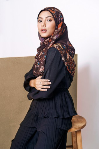 Shiraz Brown - Printed With Pompoms Mosaic Chiffon